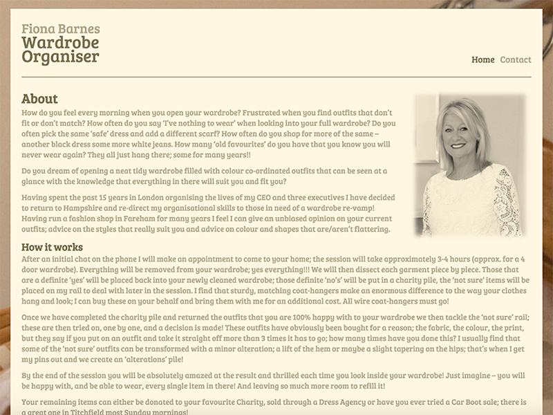 Wardrobe Organiser website screenshot